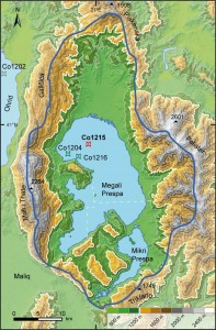 Topography of Lake Prespa. Lake catchment (blue line) and core locations (Co1215, this study) are shown (SRTM Data: Jarvis et al., 2008; Panagiotopoulos et al., 2014).
